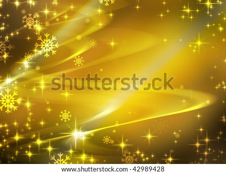 Snowflakes and stars descending on golden background