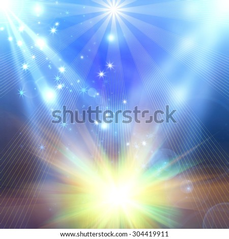snowflakes and stars on an abstract background - stock photo