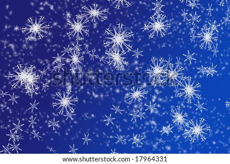 snowflakes background on blue - stock photo