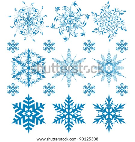 Snowflakes collection, element for design, raster version