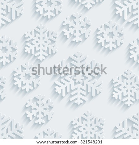 Snowflakes 3d seamless background. White perforated paper with cut out effect.  - stock photo