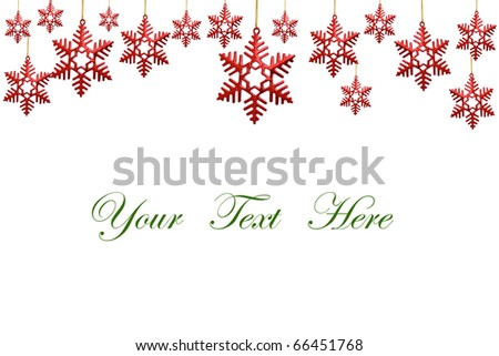 snowflakes decorations isolated on white background for message - stock photo