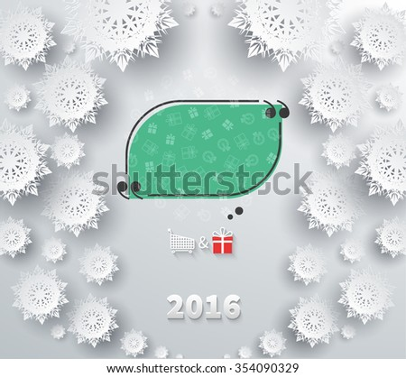 Snowflakes for winter and new year, christmas theme. Snow, christmas, snowflake background, snowflake winter 2016. Quote bubble, quote marks, quotation marks, quote box, get a quote. Raster version - stock photo