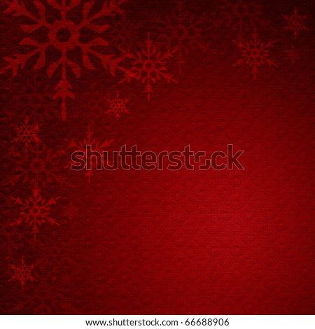 Snowflakes on a background of red cloth