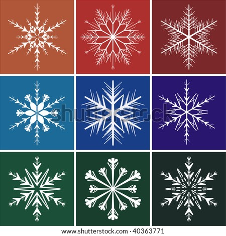 Snowflakes on colors background, vector image