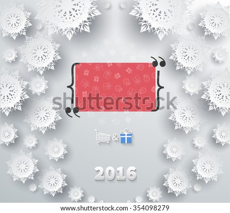 Snowflakes winter and new year, christmas theme. Snow, christmas, snowflake background, snowflake winter 2016. Quote bubble, quote marks, quotation marks, quote box, get a quote. Raster version - stock photo