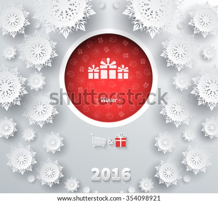 Snowflakes winter and new year, christmas theme. Snow, christmas, snowflake winter. 3D paper snowflakes. Happy New Year 2016. Silver snowflake. Snowflakes shadow. Red ball with gifts. Raster version - stock photo