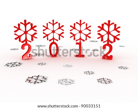 Snowflakes with 2012 year on white background. 3D image - stock photo