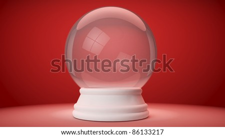 snowglobe on a red gradient background - stock photo