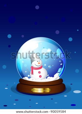 Snowglobe with snowman - stock photo