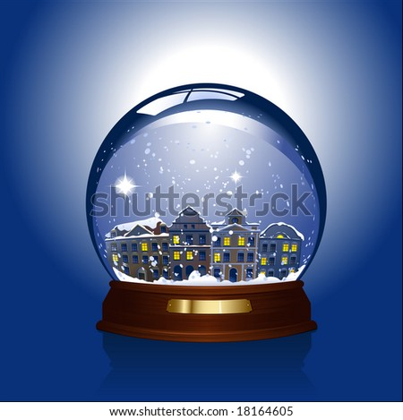 snowglobe with town inside - rasterized version of img. ID 18075943 - stock photo