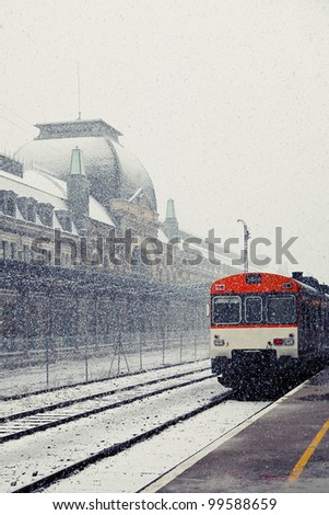 Snowing in Canfranc Railway Station - stock photo