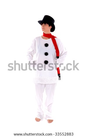 Snowman, a beautiful woman in a snowman costume - stock photo