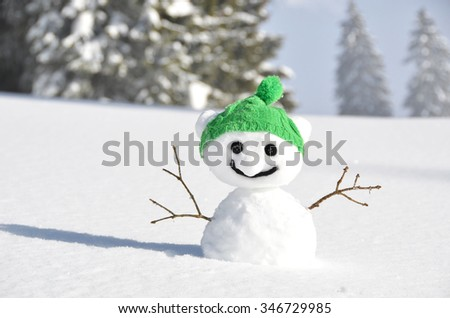 Snowman against Alpine scenery - stock photo