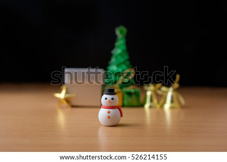 Snowman and Accessories christmas and happy new year background