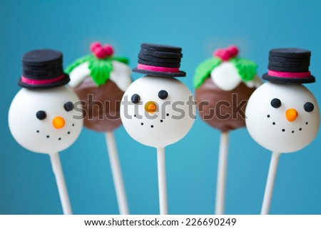 Snowman and Christmas pudding cake pops - stock photo