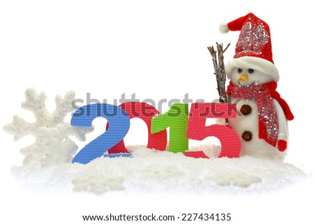Snowman and new year 2015 on snow - stock photo