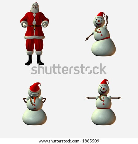 Snowman and Santa - stock photo