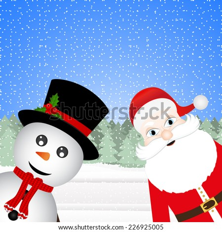 Snowman and Santa Claus in a Christmas forest  - stock photo