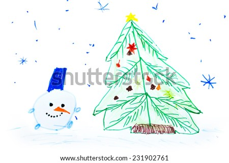 Snowman at a Christmas fir-tree. Children's drawing. - stock photo