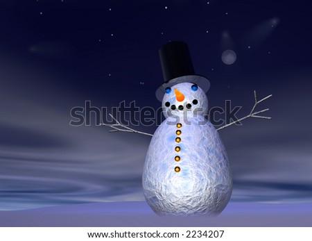 snowman at hight - stock photo