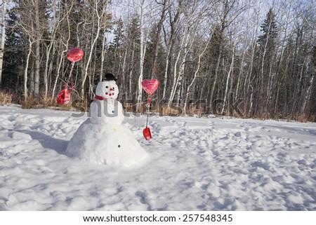 Snowman built on Valentine's Day - stock photo