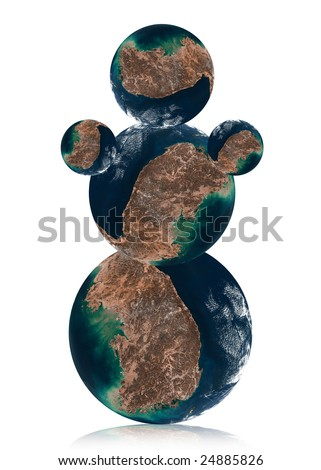 Snowman by  Earth planet. Data source: Nasa - stock photo