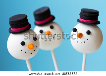 Snowman cake pops - stock photo