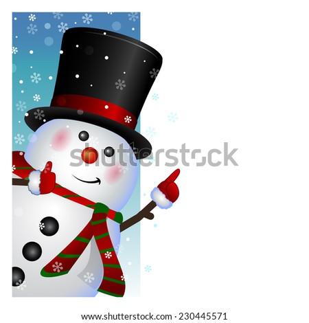 Snowman card - stock photo