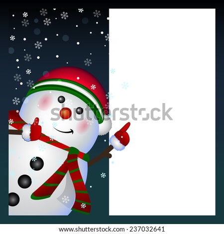 Snowman card, background Merry Christmas and Happy New Year