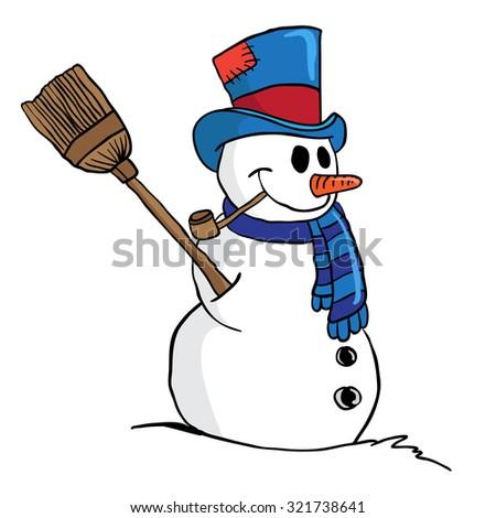 snowman cartoon illustration isolated on white - stock photo