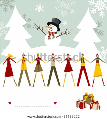 Snowman celebrating Christmas and people holding hands with blank lines to write on snowy background. Vector file available. - stock photo