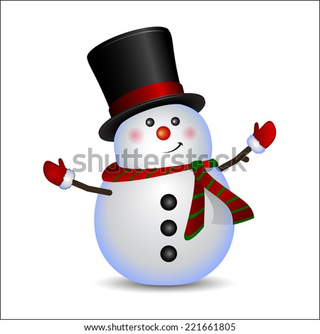 Snowman - Christmas and New Year greeting card. Winter holiday background. Isolated on white