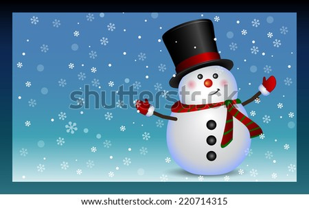 Snowman. Christmas and New Year text greeting card. Winter holiday background.
