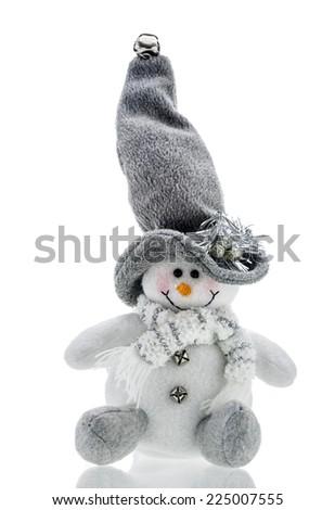 Snowman Christmas toy on white background - stock photo