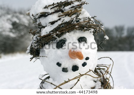 Snowman close-up with scarf and hat made from natural plant materials and a soft focus background - stock photo