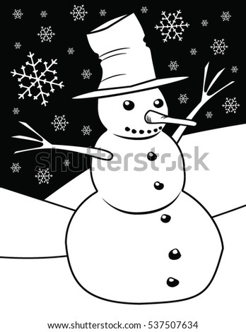 Snowman Coloring Page Stock Illustration 537507634 - Shutterstock