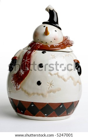 Snowman Cookie Jar - stock photo