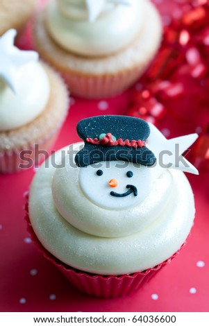 Snowman cupcake - stock photo