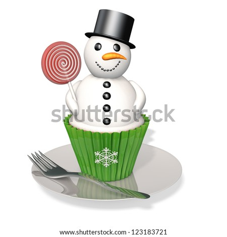 Snowman Cupcake: A snowman cupcake with licorice pieces and a candy carrot nose holding a red and white sucker sitting on a plate with a fork. - stock photo