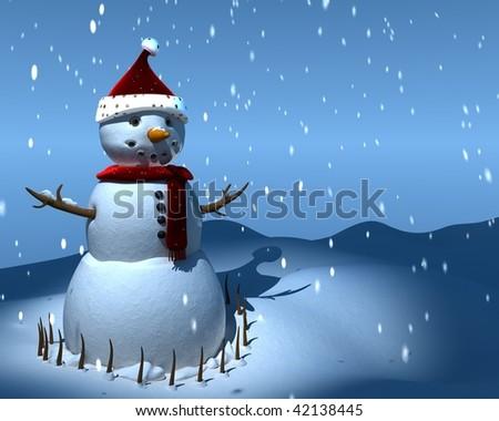 snowman 3d - stock photo