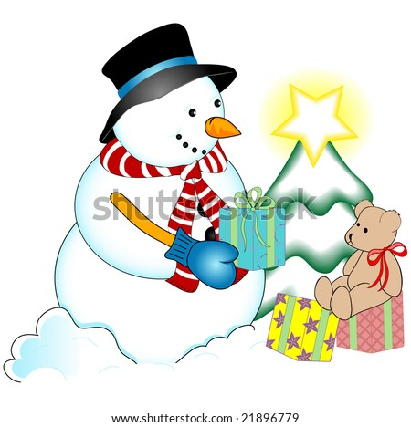 Snowman Decorating a Christmas Tree - stock photo