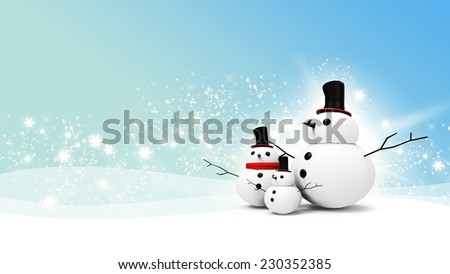 snowman family with light star in christmas day