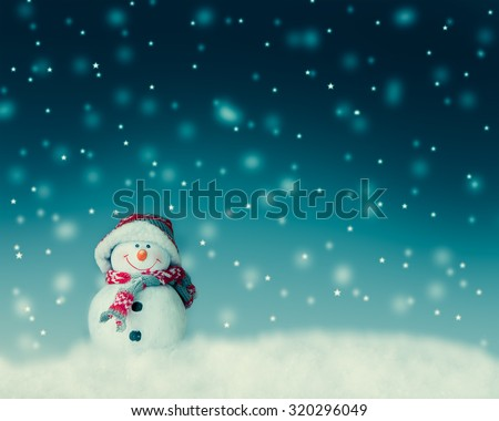 snowman  for card or background - stock photo