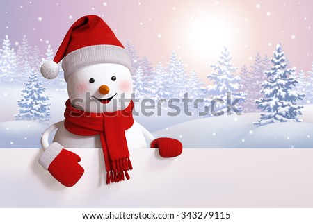 snowman greeting card, Christmas background, winter landscape, snowy forest, 3d illustration - stock photo
