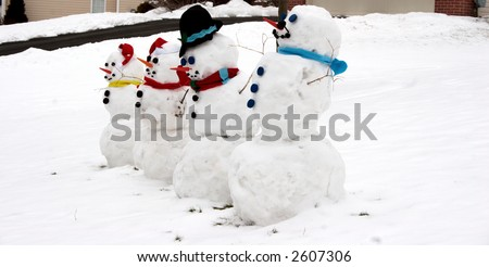 Snowman - Happy Family of Four Snowmen - stock photo