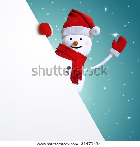 snowman hiding behind blank Christmas banner, blue holiday background, 3d illustration - stock photo