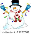 Snowman holding a string of christmas lights. - stock photo