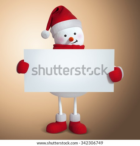 snowman holding blank card banner, copy space, holiday background, 3d Christmas illustration - stock photo