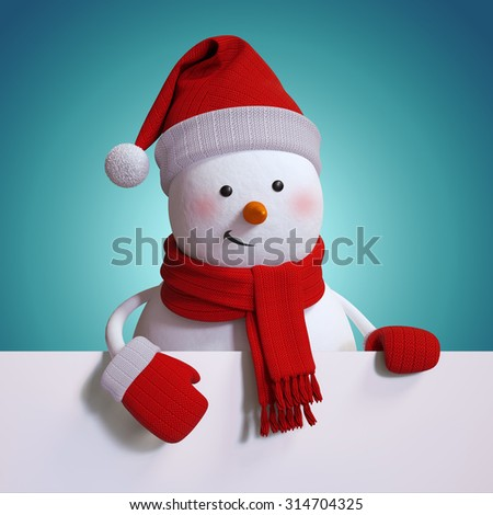 snowman holding blank holiday banner, copy space, blue Christmas background, 3d illustration - stock photo